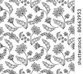 floral line art seamless pattern | Shutterstock .eps vector #80663953