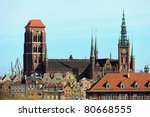 Aerial view of the Basilica of St. Mary's in Gdansk, Poland. Photo taken on: March 8, 2011 - stock photo