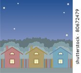 colorful houses under a night... | Shutterstock .eps vector #80672479