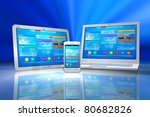white tablet pc  smartphone and ... | Shutterstock . vector #80682826