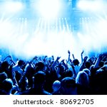 silhouettes of concert crowd in ... | Shutterstock . vector #80692705