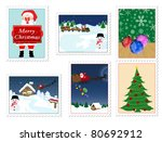 Collection of Christmas stamps, on white background vector illustration - stock vector