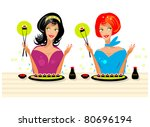 2 girls at party with sushi in... | Shutterstock .eps vector #80696194