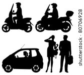 Stock vector several people on a street vector silhouettes 80706928