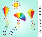 kites up in the sky   Shutterstock .eps vector #80707804