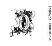 letter o ornate black and white | Shutterstock . vector #80708818