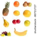 different fruits on white... | Shutterstock . vector #80721727