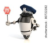 Robot Traffic Policeman Holdin...