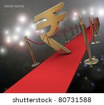 indian rupee symbol on a red... | Shutterstock . vector #80731588
