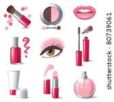 Glamorous Make Up Icons Set  ...