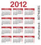 calendar for 2012  week starts