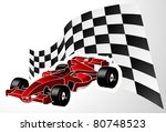 red formula one car with flag | Shutterstock .eps vector #80748523