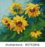 field with sunflowers drawn on a canvas oil,  illustration, painting - stock photo