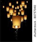 lanterns float through the... | Shutterstock .eps vector #80757040