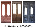 Set Of Aged Doors Isolated On...