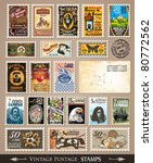 collection of vintage postage... | Shutterstock .eps vector #80772562