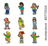 cartoon hip hop boy dancing... | Shutterstock .eps vector #80773510