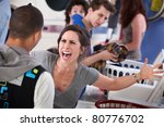 frustrated young woman yells at ... | Shutterstock . vector #80776702