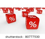 Red cubes with percent isolated on white background - stock photo