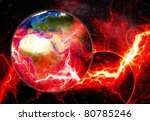Planet Earth in  danger - stock photo
