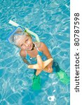 summer resort   snorkel girl... | Shutterstock . vector #80787598