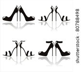 Set Of 4 Black High Heel Shoes...