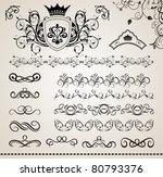 illustration set floral ornate... | Shutterstock .eps vector #80793376
