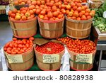 Bushels of tomatoes at farmer