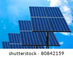 Green technology, solar panels for electricity production. - stock photo
