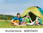 happy camping couple sitting by ...   Shutterstock . vector #80855605