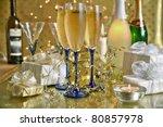 champagne in glasses bottles...   Shutterstock . vector #80857978