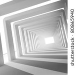 corridor with columns and light 3D - stock photo