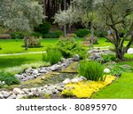 garden with pond in asian style | Shutterstock . vector #80895970