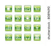 green aqua media icons  raster  | Shutterstock . vector #8089690