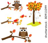 set of autumn nature elements ... | Shutterstock .eps vector #80911099