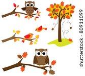 Set Of Autumn Nature Elements ...
