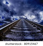 railroad at night - stock photo
