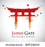 japan origami gate torii shaped ... | Shutterstock .eps vector #80918644