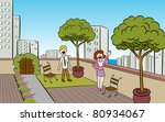 people in a garden on the roof... | Shutterstock . vector #80934067