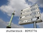 Traffic sign at the Bastille column in Paris - stock photo
