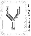 alphabet of printed circuit... | Shutterstock .eps vector #80946157