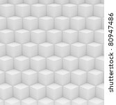 Geometric abstract background made of  white cubes - stock photo