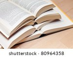 Several open books - stock photo