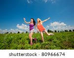 two girlfriends having fun in... | Shutterstock . vector #80966674