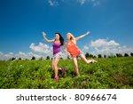 two girlfriends having fun in...   Shutterstock . vector #80966674