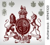 engraving vintage coat of arms... | Shutterstock .eps vector #80969320