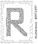 alphabet of printed circuit...   Shutterstock .eps vector #80971597