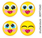 four smiling faces  they are...   Shutterstock .eps vector #80974360