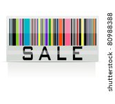 illustration of colorful bar code showing sale on white background - stock vector