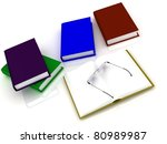 Books And Glasses Isolated Ove...